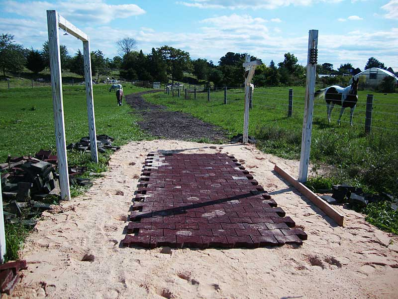 Chambersburg PA Therapeutic sensory trail rubber paver base construction for music station at sensory trail donated by Innovative Equine Systems of Minden, NV