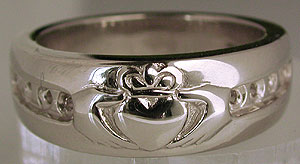 white gold claddagh eternity ring