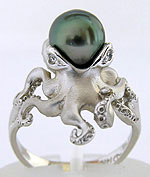 Steven Douglas white gold octopus ring with Tahitian pearl