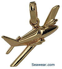 twin propeller airplane necklace pendant