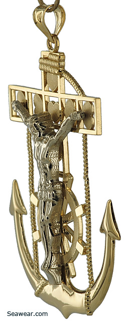 mariners anchor crucifix pendant