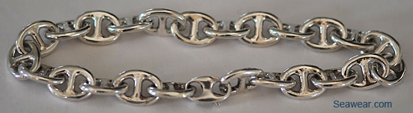 puffed anchor link bracelet in silver