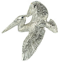 argentium silver pelican with bail under wing