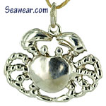 argentium silver sea shore crab charm necklace pendant