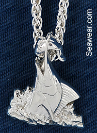 marlin striking bait fish pendant