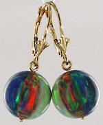 created opal leverback beach ball earrings