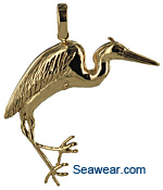 grand heron pendant in 14kt gold