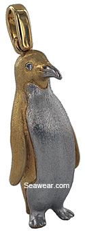 14kt two tone brushed penguin pendant