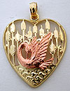 rose colored swan preening on gold heart