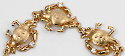 14kt gold diamond crab bracelet