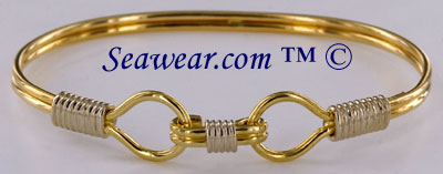 14kt two tone life line link ladies bracelet