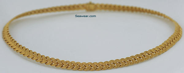 14kt gold 7mm Turks Head Guy Beard braided necklace
