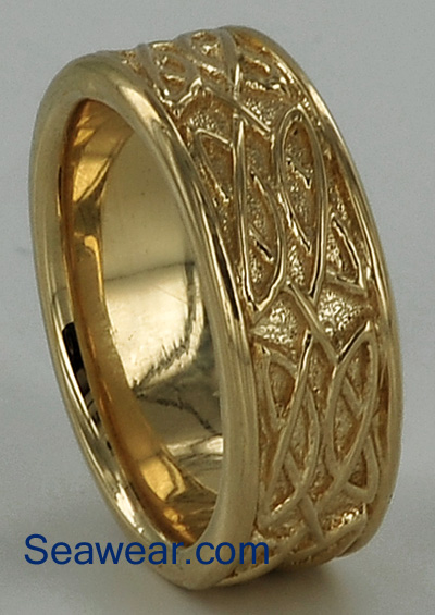 Celtic wedding band after walnut shell tumbling