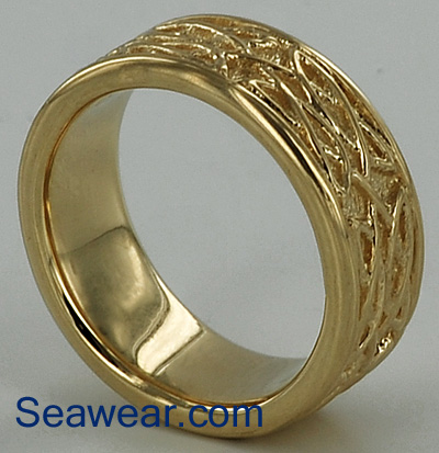 Celtic wedding band after fine shell tumbling