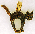 black cat in 14kt gold and rhodium jewelry necklace pendant