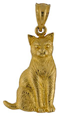 14kt yellow gold cat jewelry necklace pendant charm