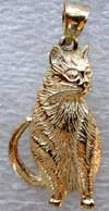fat cat with great detail in 14kt gold jewelry necklace