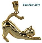14kt stretching cat with textured socks and tail jewelry pendant