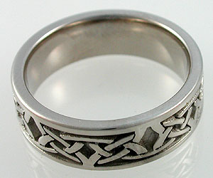 Celtic wedding band in white gold