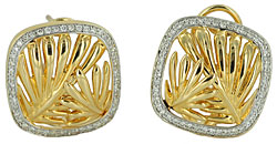 Hawaii palm frond earrings with diamonds