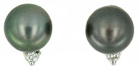 10mm Tahitian pearl diamond earrings with omega clip back