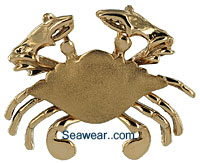 14kt gold Maryland Blue Crab with St Michael Satin finish