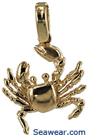 14kt gold fiddler crab jewelry pendant with full claws