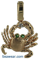 14kt gold fiddler  crab necklace with diamond and emeralds