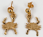 3d blue crab earrings