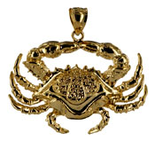 jumbo 14kt gold very detailed crab necklace pendant