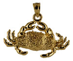 14kt gold medium sized crab necklace pendant