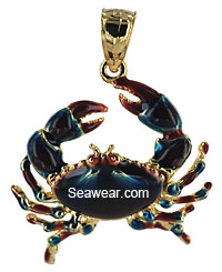 14k crab pendant with enamel