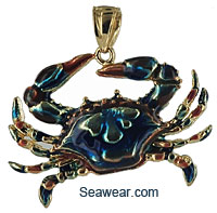 14k gold Chesapeake Bay blue crab with enamel