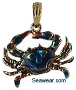 14k gold small Maryland blue crab with blue enamel
