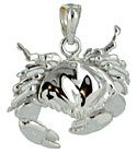 14kt white gold crab jewelry pendant charm