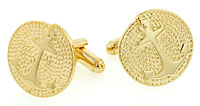 gold tone anchor on coiled link cufflinks