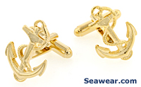 gold tone anchor cufflinks
