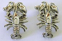 silver maine lobster cufflinks