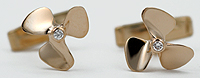 14kt diamond propeller cufflinks