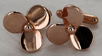 rose gold tone propeller cufflinks