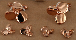 rose tone gold plated propeller cufflinks and studs set