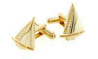 gold tone sailboat cufflinks