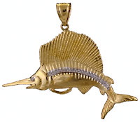 leaping sailfish with VS diamonds pendant