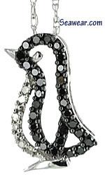 black and white diamonds outline penguin necklace