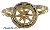 gold compass rose ring
