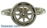 white gold compass rose ring