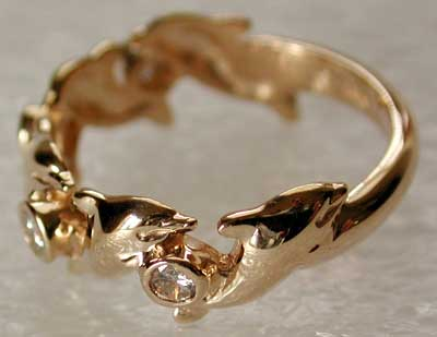 Dolphin Diamond Ring