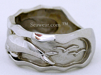 white gold dolphin ring with sea birds