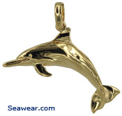 gold spinner bottle nose dolphin necklace pendant