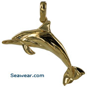 14kt bottlenosed dolphin with diamond eye necklace